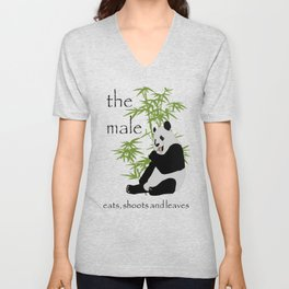The Male Eats, Shoots and Leaves Unisex V-Neck