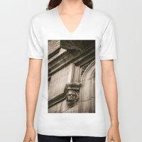 concrete V-neck T-shirts featuring Concrete Head by Cwenar