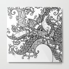Zen Tree Rebirth White Left Half Metal Print