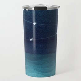Garlands of stars, watercolor teal ocean Travel Mug