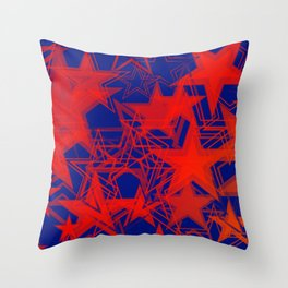 Vector blue background in red stars. For registration of paper or banners. Throw Pillow