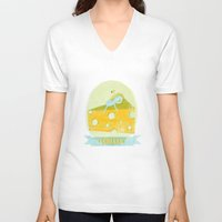 cheese V-neck T-shirts featuring Cheese  by Hadar Geva