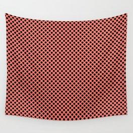 Peach Echo and Black Polka Dots Wall Tapestry