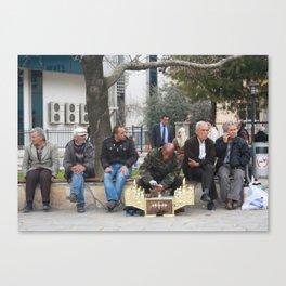 Man Polishing Leather Shoes Shoeshine On Street Mugla Turkey Canvas Print