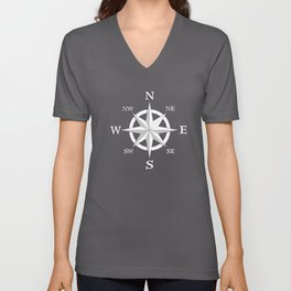 Eight Point Compass Rose, White and Navy Blue Unisex V-Neck