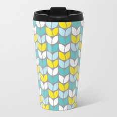 Tulip Knit (Aqua Gray Yellow) Metal Travel Mug