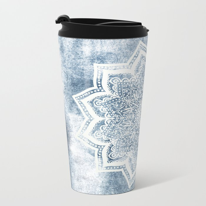 BLUEISH SEA FLOWER MANDALA Metal Travel Mug