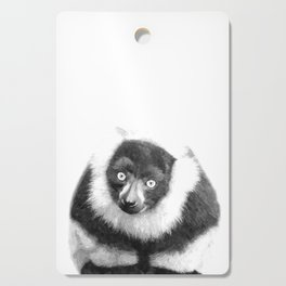 Black and white lemur animal portrait Cutting Board