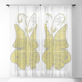 Surreal butterfly in pantone 2021 colors Sheer Curtain