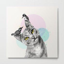 cat with birds Metal Print
