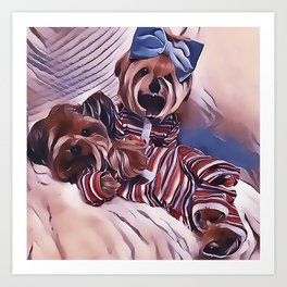 2 Yorkies Getting Ready For Bed Art Print