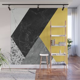 Black and White Marbles and Pantone Primrose Yellow Color Wall Mural