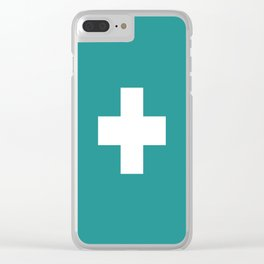 Swiss Cross Turquoise Clear iPhone Case