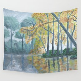 Spring Trees Reflecting Over Lake Wall Tapestry