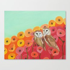 Owls in a Poppy Field Canvas Print