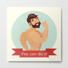 Motivational and inspirational poster with 'You can do it' text. Gym, bodybuilding, concept image, b Metal Print