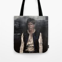 han solo Tote Bags featuring Han Solo by Rafal Rola