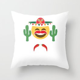 Cinco De Mayo Emoji Laughing With Mustache Mexican Humor Gift Throw Pillow