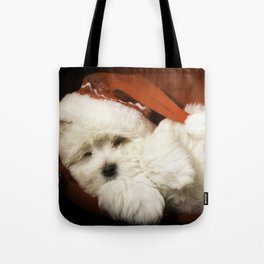 Sleepy Santa Puppy Tote Bag