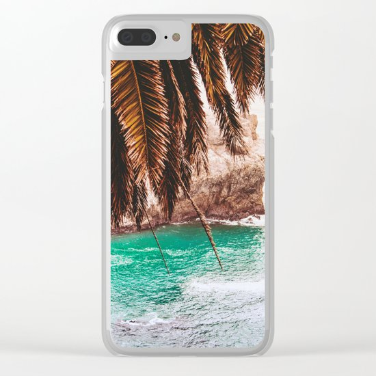 vintage ocean #palm tree Clear iPhone Case