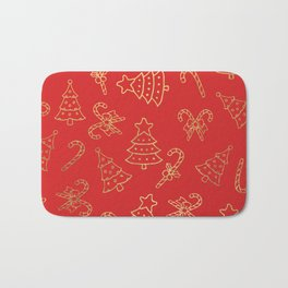 Elegant Christmas Red Faux Gold Foil Candy Cane Tree  Bath Mat