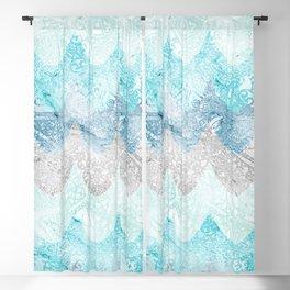 Light Aquamarine Mermaid Scales Waves Pattern Blackout Curtain