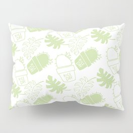 Hand painted mint green floral cactus tropical leaves typo Pillow Sham