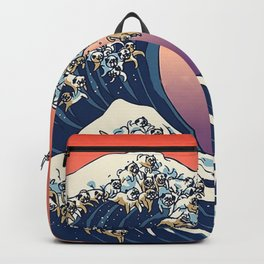 The Great Wave Off Pug Backpack