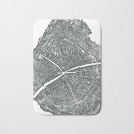 Locust Tree ring image, woodcut print Bath Mat