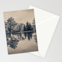 Winter Trees Reflection Panorama Stationery Cards