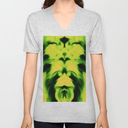 abstract psychedelic paint flow ghost face ee Unisex V-Neck