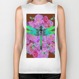 EMERALD DRAGONFLIES  PINK ROSES COFFEE BROWN Biker Tank