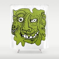 number Shower Curtains featuring Number #3 by Cameron Hallenbeck