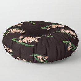 Peach Floral Toss in Black Floor Pillow
