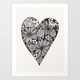 Black Floral Heart Art Print