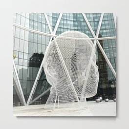 mesh sculpture on front of bow tower in calgary building Metal Print