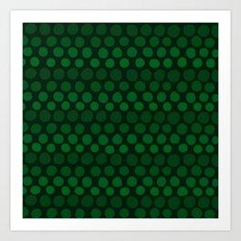 Emerald Green Subtle Gradient Dots Art Print