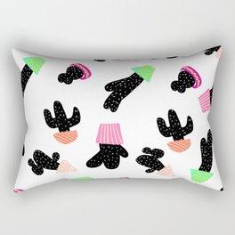 Modern back white cactus pattern pastel boho pots Rectangular Pillow