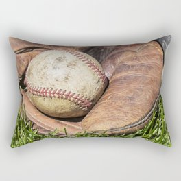 Vintage Baseball in Catcher's Mitt 1 Rectangular Pillow