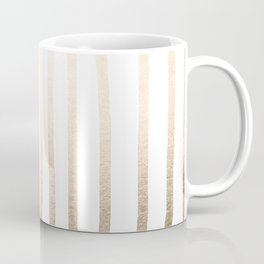 Simply Drawn Vertical Stripes in White Gold Sands Coffee Mug