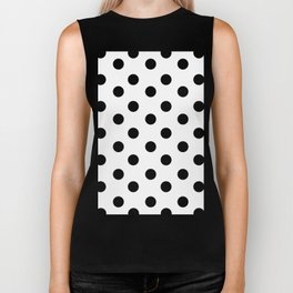 White & Black Polka Dots Biker Tank