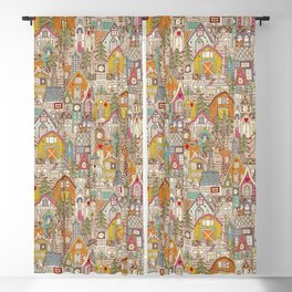 vintage gingerbread town Blackout Curtain