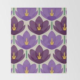 Crocus Flower Throw Blanket