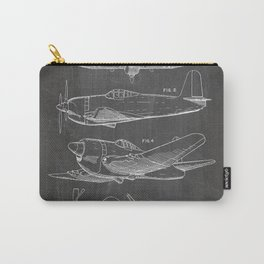 Wedberg Airplane Patent - Us Air Force Art - Black Chalkboard Carry-All Pouch