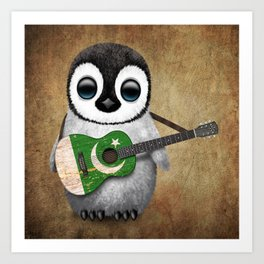 Baby Penguin Playing Pakistani Flag Acoustic Guitar Art Print