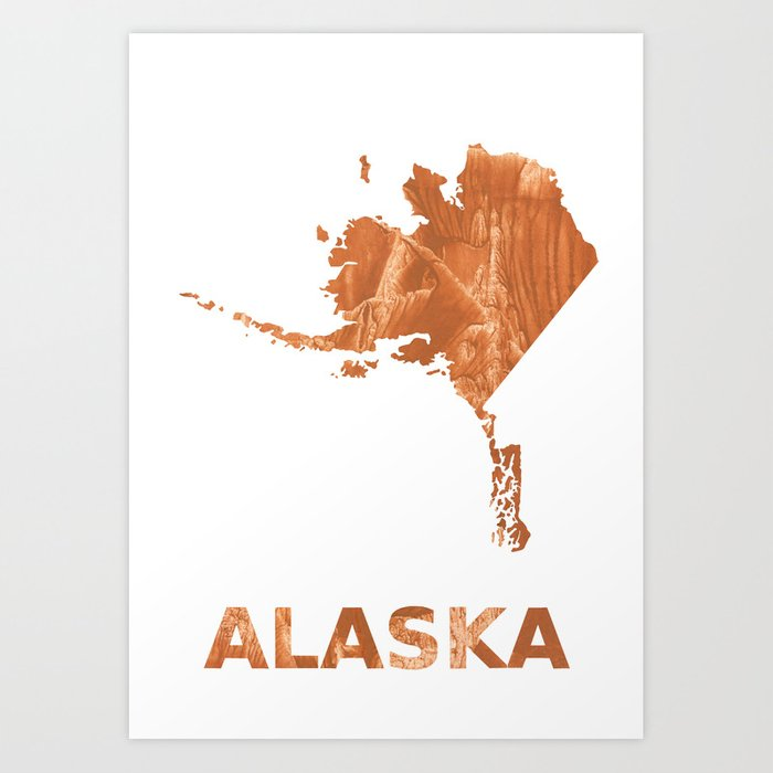 image relating to Printable Map of Alaska named Alaska map define Peru hand-drawn clean drawing Artwork Print