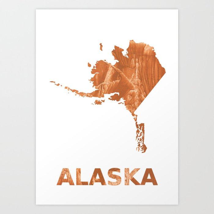 photo about Printable Map of Alaska identified as Alaska map define Peru hand-drawn clean drawing Artwork Print