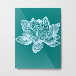 lotus - teal Metal Print