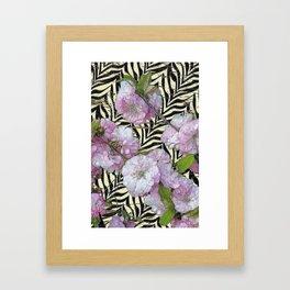 Funky Zebra & Prunus Framed Art Print