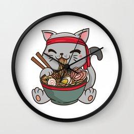 Cute Anime Ramen Cat - Otaku T-Shirt Wall Clock